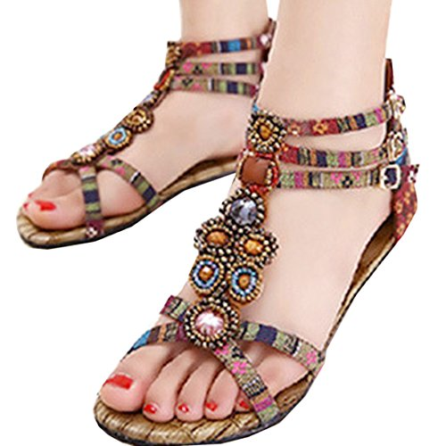 Oasap Women Boho Bejeweled Ankle Straps Buckled Summer Flat Sandals Khaki