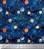 Soimoi Blau Baumwoll-Popeline Stoff Planet Galaxis Drucken