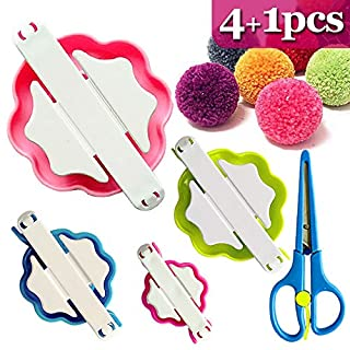 Coardor Pom Pom Makers kit 4 Sizes with a Pair of Small Scissors(Small to Large), Clover Pom-pom Maker Set Wool Knitting Craft Tool Kit Plastic Fluff Ball Weaver Making for Kids DIY Needle Craft