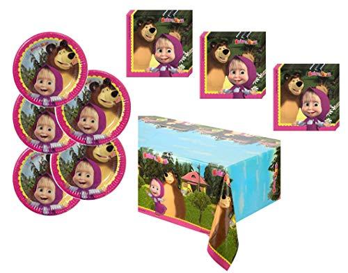 Masha And The Bear PC02 - Set di tovaglioli e tovaglioli Decorativi, per Festa dei Bambini, Motivo: Masha e l'orso, 29 Pezzi, Colore: Rosa