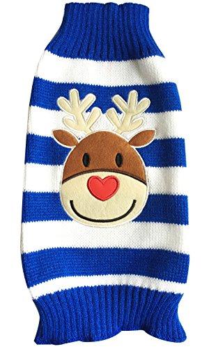 Moolecole Mode Weihnachten Reindeer Haustier Hund Knitted Pullover Winter Warme Jacke Haustier Hunde Welpen Bekleidung T-shirt Sweater Blau XL