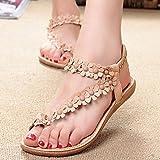Women Sandals,Summer Bohemia Sweet Beaded Sandals Clip Toe Sandals Beach Shoes (38, Khaki)
