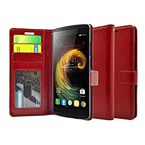 FOSO(™) Lenovo Vibe K4 Note / A7010 High Quality PU Leather Magnetic Flip Cover Wallet Case (Glamour Red)
