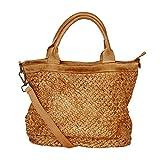 fashion-formel Leder Damen Tasche Beutel geflochten, Shopper, Schultertasche Vintage Used Look M2124...
