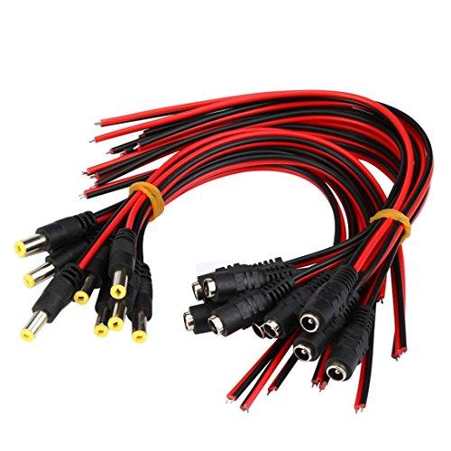 Preisvergleich Produktbild Fuibo 20Pcs 5.5x2.1mm Mann + weibliches DC-Energien-Einfaßungs-Jack-Stecker-Verbindungsstück-Kabel 12V EF