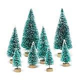 Yalulu 8 Stück Gemischte Größe Schneetannen Künstlicher Weihnachtsbaum Kunstbaum Christbaum Tannenbaum mit ständer Weihnachtsdeko Weihnachten Tischdeko Geschenk Decoration (Grün)