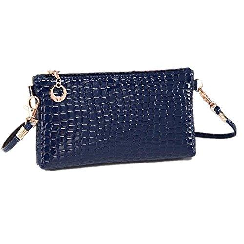 Borsa Familizo Elegant Pelle di coccodrillo donne del messaggero di Crossbody frizione borsa a tracolla (Blu)