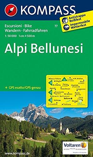 Alpi Bellunesi 1 : 50 000: Wanderkarte mit Radrouten. GPS-genau por Kompass