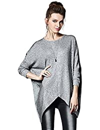 Ferand - Tunique Pull Asymétrique Chic à Manches Longues, Top Modèle Large (Taille XL-4XL) - Femme