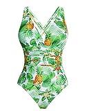 Aibrou Costume da Bagno Donna Sexy Interi Bikini Costumi da Mare Spiaggia Elegante Monokini S-XXL (Bianco*Foglia, x-Large)