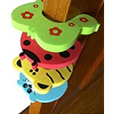 Kuhu Creations® Premium Door Stopper Finger Pinch Guard/Accidental Door Lock Protection For Baby Safety Mix Color. (4 Units, U Style)
