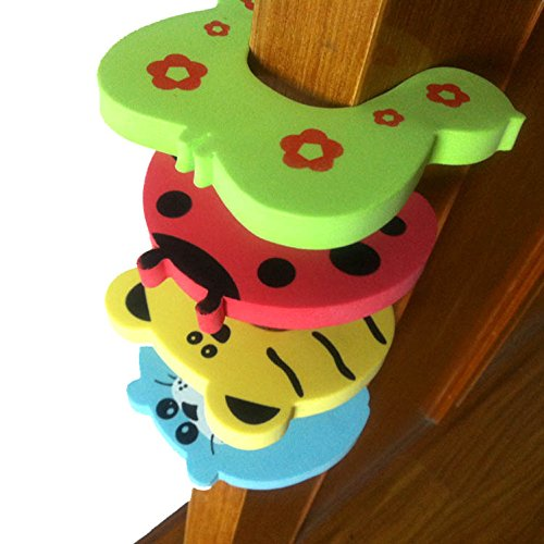 Kuhu Creations® Premium Door Stopper Finger Pinch Guard/Accidental Door Lock Protection For Baby Safety Mix Color. (4 Units, U Shape)