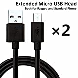 NIUBEE (2 Packs) Extension Micro USB Head Cable For Rugged Phone, Shockproof Phone, Waterproof Phone, USB Cable For MANN ZUG, Sonim XP, SIM Free Phone, Samsung Galaxy S6, S5, J5, S7, A3, S4, 3.3ft+4.9ft (1m+1.5m)