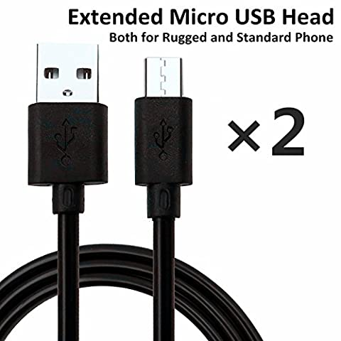 NIUBEE (2 Packs) Extension Micro USB Head Cable For Rugged Phone, Shockproof Phone, Waterproof Phone, USB Cable For MANN ZUG, Sonim XP, SIM Free Phone, Samsung Galaxy S6, S5, J5, S7, A3, S4,