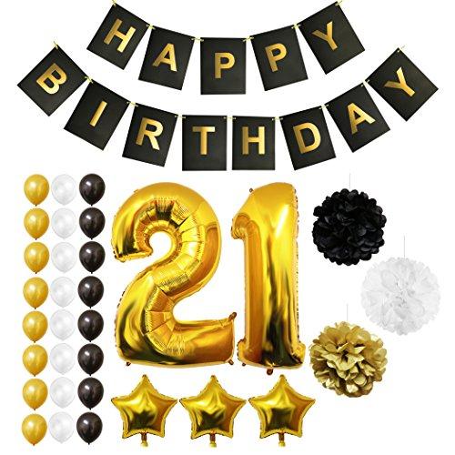Happy Birthday Party Luftballons u. Dekoration zum 21. Geburtstag von Belle Vous - 26-tlg. Set - Großer 21 Jahre Luftballon - 30,5cm Gold u. Silberne Dekorative Latex-Ballons - Für Männer u. Frauen (Design 6)