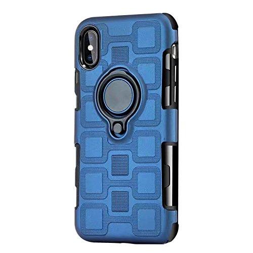JINXIUCASE Handyhülle Fall, Armour Dual Layer 2 in 1 Schutzhülle mit drehbarem Fingerring Halter Ständer passend für magnetische Auto Halterung für iPhone X/XS (Farbe : Marine)