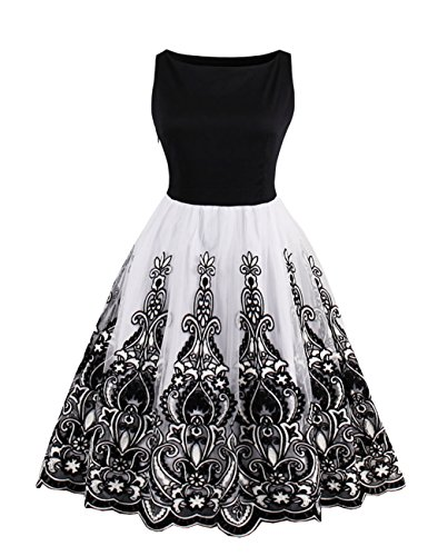 VKStar-Womens-Vintage-50s-Rockabilly-Floral-Patchwork-Retro-Swing-Summer-Casual-Dresses