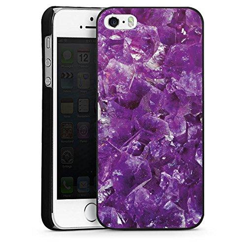 Apple iPhone 5s Housse Étui Protection Coque Améthyste Pierre précieuse Lilas CasDur noir
