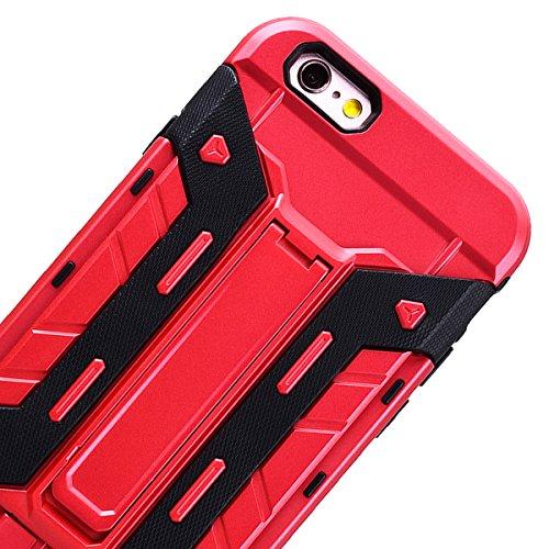 SMART LEGEND Hardcase für iPhone 6S/iPhone 6 Hülle mit Kartenfach Hartschale Standfunktion Schutzhülle Karten Slot Hybrid Handyhülle Tasche Skin Schale Hart PC Hardcover Clear Kristall Handytasche Etu Rot