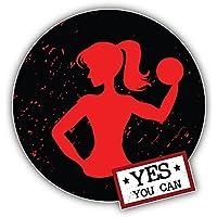 Yes You Can Woman Fitness Sport Label Kunst Dekor Aufkleber 12 x 12 cm
