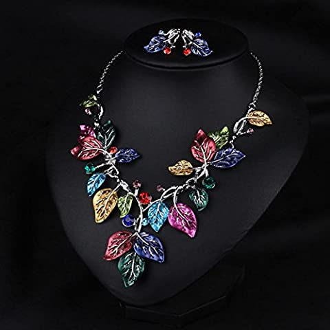 XXFFH Necklace Pendant Leaves Short Fashion Necklace Set With Diamonds Collar A Collar For A Horse, Color