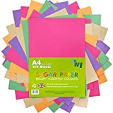 Sugar Paper A4 - 100 x Bright Coloured Sheets - 100Gsm - 21001 - Made in the UK by IVY Stationery
