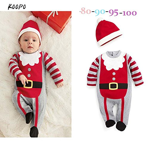 Baby Jungen Weihnachtsgeschenk - Gestreiften Strampler Langarm-Overall Outfit + Hut (Weihnachtliche Outfits)