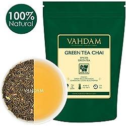 Grüner Tee Chai mit Masala. Ein Premium Loose Leaf (50 Tassen), perfekter Blended Green Tea, verpackt mit seltenen indischen Gewürzen - Kardamom, Zimt, Gewürznelken & schwarzen Pfefferkörnern und starken Antioxidantien, 100g