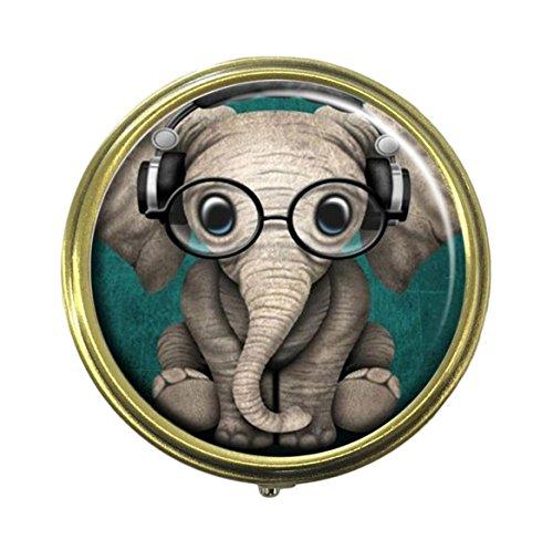 Cecillia Pillendose, Elefant, mit Brille, 3 Fächern, bronzefarben