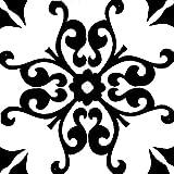 4 Zementfliese Karina weiß schwarz- Handarbeit - Vintage Fliese für Altbau Neubau