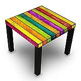 banjado - Beistelltisch Design Tisch 55x45x55cm Wohnzimmertisch Schwarz mit Motiv Bunte Holzlatten