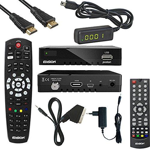 Edision Proton Full HD Satelliten-Receiver FTA HDTV DVB-S2 (HDMI, AV, USB 2.0) Astra 19,2 vorpr. Komplettset 1080p Av-receiver