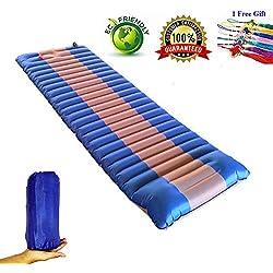 Colchón de Camping inflable. Fácil de Llevar,Bomba de Pie innovadora incorporada, inflado rápido, Almohada de Actualización, Adecuada Para Acampar en Coche,Natación dePlaya, impermeable y Antifricción (azul)