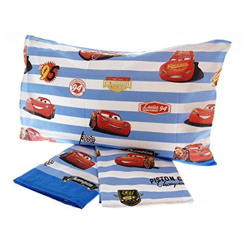 Completo letto disney cars puro cotone 100% set lenzuola sopra sotto federa