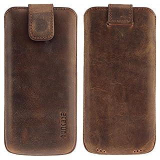 Suncase Original Etui Tasche für Samsung Galaxy S9 Plus   mit ZUSÄTZLICHER Hülle/Schale/Bumper *Lasche mit Rückzugfunktion* Handytasche Ledertasche Schutzhülle Case Hülle in antik-coffee