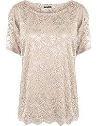 WearAll - Grande taille dentelle doublé festonné t-shirt top à manches courtes - Hauts - Femmes - Tailles 42 à 56