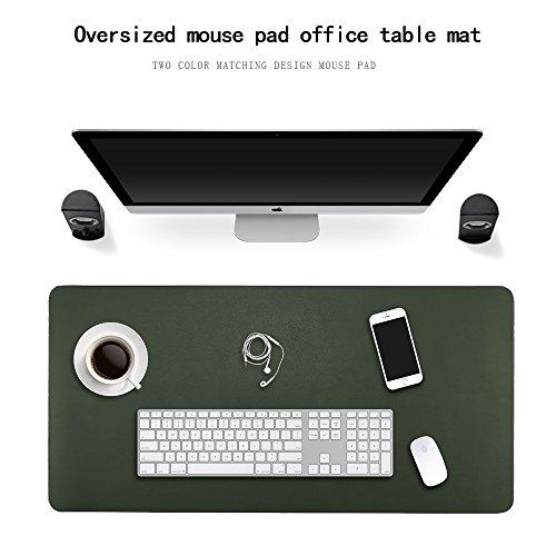 Jian Ya Na - Alfombrilla para ratón de Piel sintética Resistente al Agua, para Escribir, la Oficina y el hogar, Ultrafina de 2 mm (90 x 45 cm, Green + Gray)