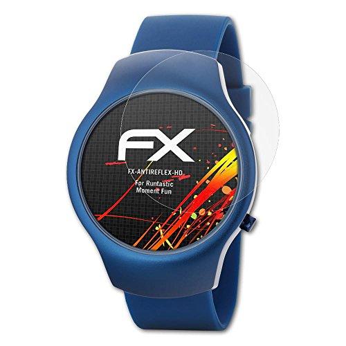 atFoliX Schutzfolie kompatibel mit Runtastic Moment Fun Bildschirmschutzfolie, HD-Entspiegelung FX Folie (3X)