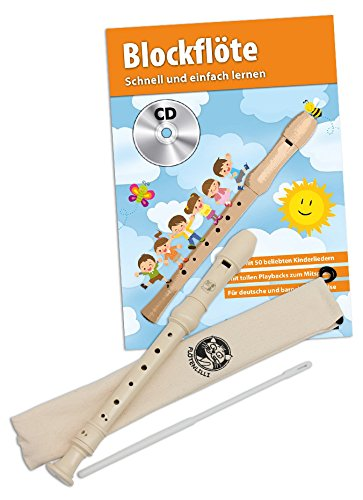 CASCHA Blockflöten Set, Flöte aus Kunststoff zum Lernen für Kinder und Anfänger mit Buch, Deutsche Griffweise - Für Anfänger-musik-bücher Flöte