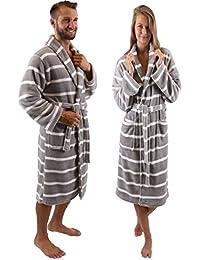 Betz Bademantel Saunamantel Damen Herren Morgenmantel mit Schalkragen UNISEX Prag Farbe grau weiße Streifen Größe L/XL