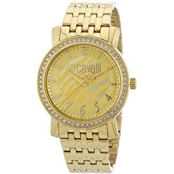 Just Cavalli Ladies Watch R7253103617 In Collection Moon, 3 H and S, Champagne Dial and Gold Stainless Steel Bracelet