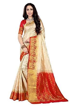 Krishna Emporia Silk Saree With Blouse Piece (New Sarees 0611_White Red_Free Size)