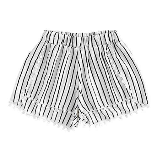 Sannysis Mujer Cintura Baja Shorts Cómodo Cintura Elástica Pantalón Moda Estampado de Flores Casual Verano Pantalones Cortos Sueltos Shorts Mujer Pantalones Deportivos de Algodón (L, Blanco)