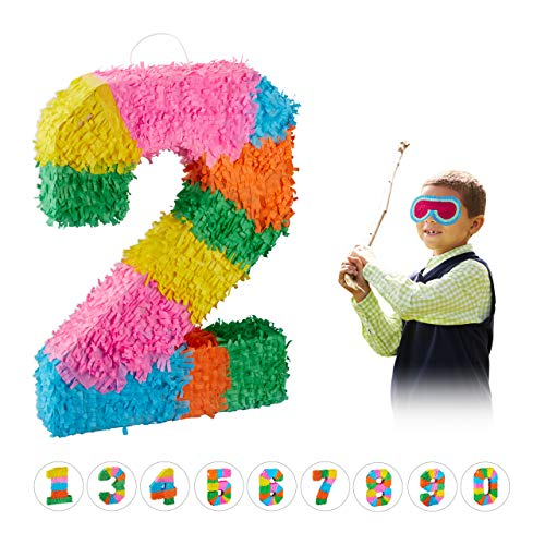 Relaxdays 10025189_904 Pinata Geburtstag, Zahl 2, zum Aufhängen, Kinder & Erwachsene, Papier, zum selbst Befüllen, Piñata, bunt (Pinata Geburtstag Jungen)