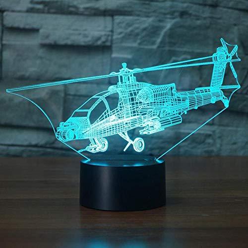 3D Hubschrauber Nachtlicht Flugzeug Tischlampe 7 Farbwechsel Schlafzimmer Nacht Dekoration Kinder Weihnachtsgeschenk