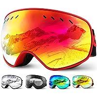 Glymnis Skibrille Snowboard Brille Schneebrille Doppel-Objektiv Schutzbrillen UV-Schutz Anti-Nebel Winddicht für Skifahren Skaten Damen und Herren Jungen und Mädchen mit Reißverschlussbox