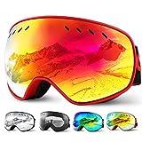 Glymnis Skibrille Snowboard Brille Schneebrille Doppel-Objektiv Schutzbrillen UV-Schutz Anti-Nebel Winddicht für Skifahren Skaten Damen und Herren Jungen und Mädchen mit Reißverschlussbox (Rot)