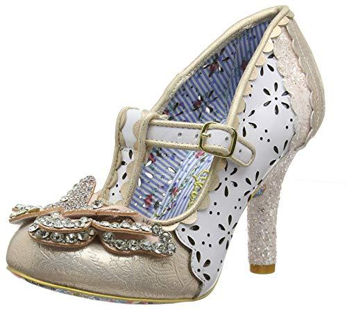 Irregular Choice Papillon, Zapatos de Boda para Mujer, Blanco (White Dark), 38 EU