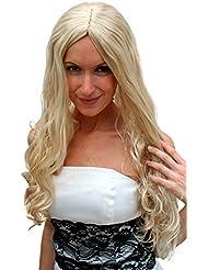 VK Event Fashion - Perruque Blonde, Longue, Avec Raie Au Milieu, Style Hippie, Super Sexy