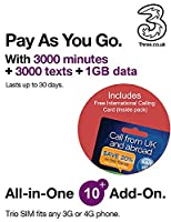 Three UK All-in-one 10+ PAYG Trio SIM Card -3000 minutes, 3000 texts + 1GB data - FREE International Calling Card - (Love2surf RETAIL PACK)